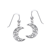Jewellery Trends Sterling Silver Celtic Crescent Moon and Star Dangle Earrings