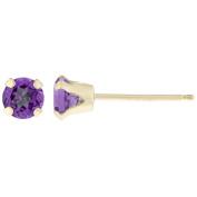 .20 CT Round 3MM Purple Amethyst 14K Yellow Gold Stud Birthstone Earrings