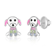 Children's Earrings - 925 Sterling Silver with a White Gold Tone Pink Enamel and Crystal Dog Screwback Earrings MADE WITH ELEMENTS Kids, Children, Girls, Baby