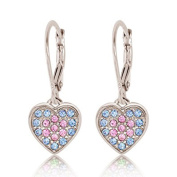 Children's Earrings - 925 Sterling Silver With a White Gold Tone Pink and Blue Coloured Crystal Heart Leverback Children's Earrings Made with Elements Kids, Children, Girls, Baby