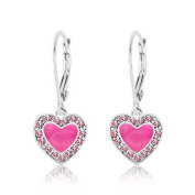 Children's Earrings - 925 Sterling Silver with a White Gold Tone Pink Enamel Heart with Surrounding Crystals Leverback Earrings MADE WITH ELEMENTS Kids, Children, Girls, Baby