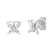 Sterling Silver Butterfly Stud Earring with Simulated Birthstone & CZ for Girls