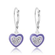 Childrens Earrings 925 Sterling Silver White Gold Tone Purple Enamel Heart