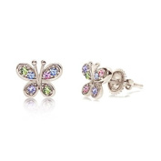 Childrens Earring 925 Sterling Silver White Gold Tone Crystal Butterfly New