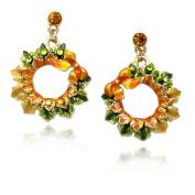 cocojewelry Fall Wreath Leaves Dangle Earrings Halloween Thanksgiving Jewellery