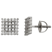 Sterling Silver Rhodium 5X5 Square Mens Screw-Back Stud Earring