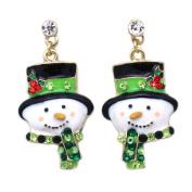 cocojewelry Snowman Poinsettia Green Christmas Hat Muffler Earrings Jewellery