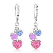 Children's Earrings - White Gold Tone Hearts Multi Colour Crystal Earrings with Silver Leverbacks Baby, Girls, Children