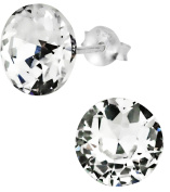 Sterling Silver 9.5mm Large Round Crystal Stud Earrings