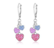 Kids Earrings White Gold Tone Hearts Multi Colour Crystal with Silver Leverbacks