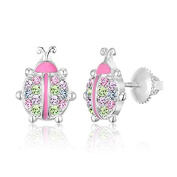 Children's Earrings - 925 Sterling Silver with a White Gold Tone Pink Enamel and Crystal LadyBug Screwback Earrings MADE WITH ELEMENTS Kids, Children, Girls, Baby