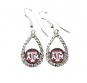 Texas A & M Aggies Teardrop Crystal Maroon Charm Earring French Hook Jewellery TAMU.