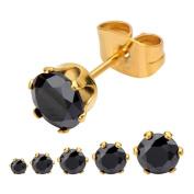 Inox Jewellery SSE712KG-5 Stainless Steel CZ Stud Earrings, IP Gold & Black - 5 mm & 5 in.
