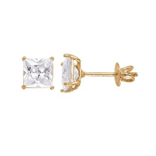 14kt Yellow Gold Plated Square Crystal Screw back Studs