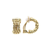 High Polished 14 Karat Gold Plated Wide Bamboo Earring with Clip