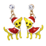 cocojewelry Christmas Santa Hat Outfit Chihuahua Puppy Holiday Earrings Jewellery