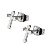 Inox Jewellery SSE0628 Cross Stainless Steel Stud Earrings