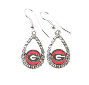 Georgia Bulldogs Teardrop Crystal Red Charm Earring French Hook Jewellery UGA.
