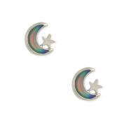 Zad Jewellery Moon & Star Mood Stud Earrings, Silver