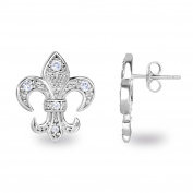 Spoil Cupid Rhodium Plated Sterling Silver Cubic Zirconia the Fleur De Lis Lily Flower Stud Earrings