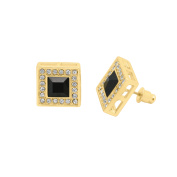 Mens 15mm 14k Gold Plated Iced Out Pave Square Halo Post Earrings