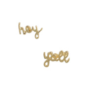 Zad Jewellery 'Hey Y'all' Southern Charm Stud Earrings, Gold