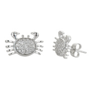Sterling Silver Pave Crab Stud