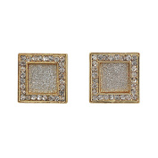Mens 14k Gold Plated 15mm Iced Out Hip Hop Bling Stardust Micropave Flat Square Earrings