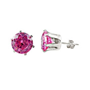 10mm Snap in Pink CZ Earring Ecoat - IN 7mm Setting
