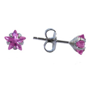 Pink Star Shaped 6mm Cubic Zirconia Earrings 1.5 Total Carat Weight Set In 925 Rhodium Finished Sterling Silver