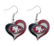 Aminco NFL San Francisco 49ers 1.9cm Swirl Heart Earrings