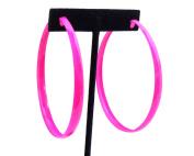 Large Hot Pink Hoop Earrings 7.6cm Hoop Earrings