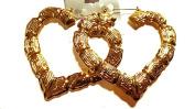 Bamboo Gold Tone Heart Earrings 8.9cm Heart