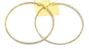 Large Gold Tone Textured Hoop Earrings 10cm