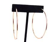 Clip-on Earrings Simple Thin Plated Rose Gold Hoop Earrings 5.7cm Hoops