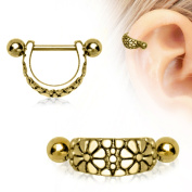 Daisy Ear Cuff Cartilage WildKlass Earring Gold Plated 316L Surgical Steel