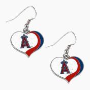 Los Angeles Angels MLB Glitter Heart Sports Team Logo Earring Swirl Charm Set