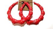 Large Red Bamboo Hoop Earrings 8.9cm