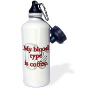 3dRose My blood type is coffee. Red., Sports Water Bottle, 620ml