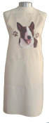 Bull Terrier Breed of Dog Themed Natural Cream Cotton Bib Apron - Baker Cook Gift