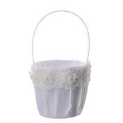 Wedding Girl Flower Basket, Faux Pearl Decor Flower Basket,Lace Flower Wedding Basket, Marriage Props Wedding Party Supplies - White,12(W)x23(H)cm