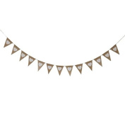 Philna12 13pcs White Heart Print Hessian Burlap Flag Banner Bunting for Wedding Party Decoration