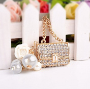 MA-on Artificial Pearl Handbag Charm Key Ring Keychain Creative Wedding Party Gift