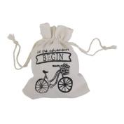 10pcs Bike Pattern Linen Drawstring Gift Bag Pouch Rustic Wedding Favours 12 x 10cm