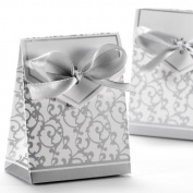 50x Boite a Dragee Accessoire Mariage Decoration Table Bapteme Fete Fleur Argente