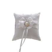 Omeny Satin Bowknot Ring Pillow Cushion for Wedding Party