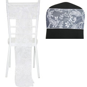 TtS 1pcs Flocked Organza Chair Cover Sashes Bow Wedding Party Birthday -Leaves A Pattern White