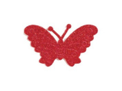 CLUB GREEN Self Adhesive Glitter Butterfly, Red, 12 per sheet