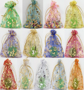 SevenMye 100 PCS Organza Jewellery Candy Gift Pouch Drawstring Bags Wedding Party Xmas Favours Decor