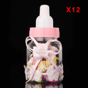 MultiWare 12 Pcs Fillable Bottles Candy Bottle Party Great Gift Baby Shower Pink With Bear